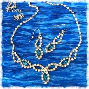 Jewelry - Electric Blue Rhinestone Necklace and Earrings Set